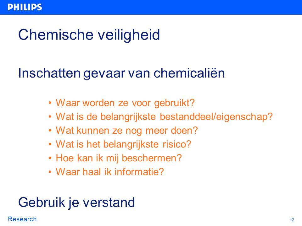 Chemische veiligheid Inschatten gevaar van chemicaliën