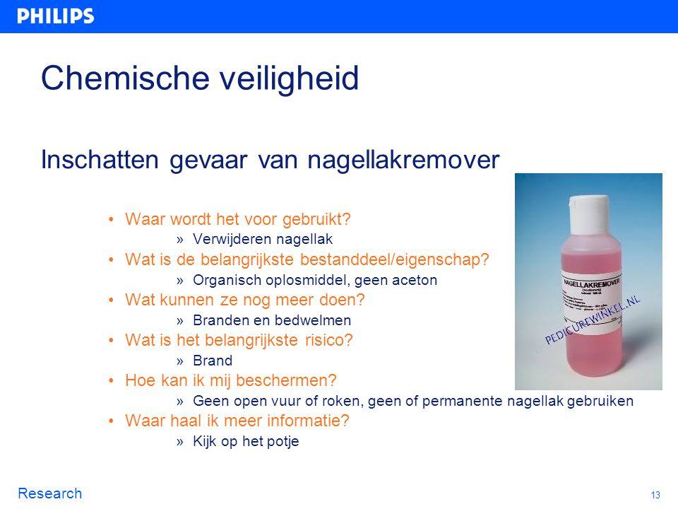Chemische veiligheid Inschatten gevaar van nagellakremover