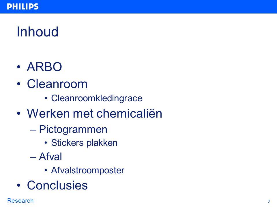 Inhoud ARBO Cleanroom Werken met chemicaliën Conclusies Pictogrammen