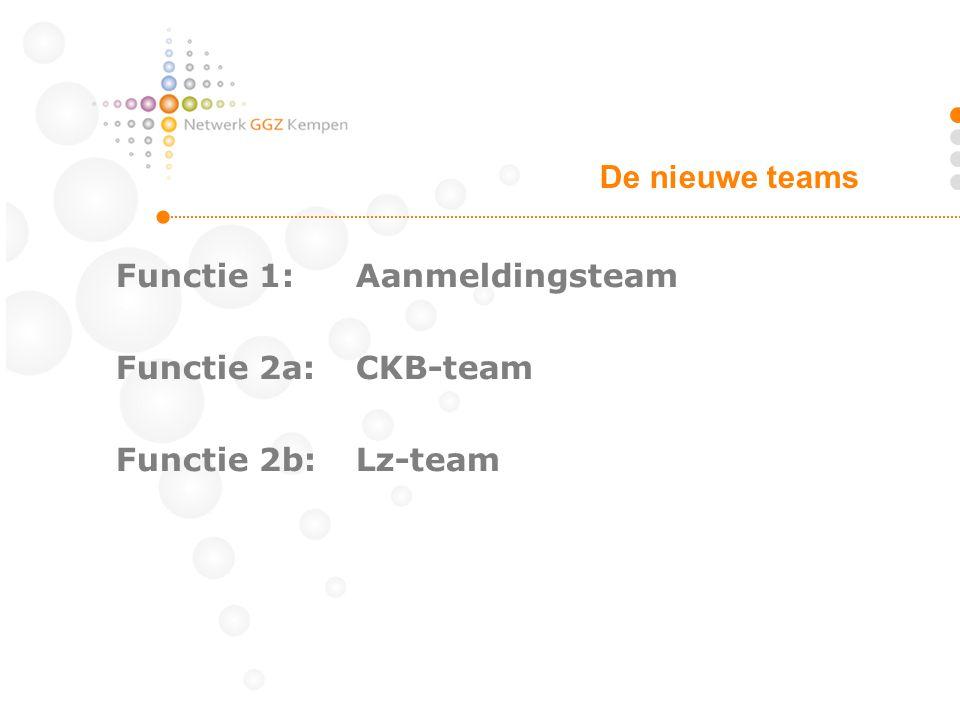 De nieuwe teams Functie 1: Aanmeldingsteam Functie 2a: CKB-team Functie 2b: Lz-team
