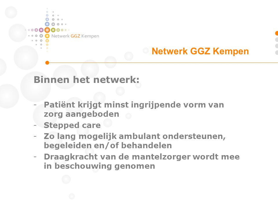 Netwerk GGZ Kempen Binnen het netwerk: