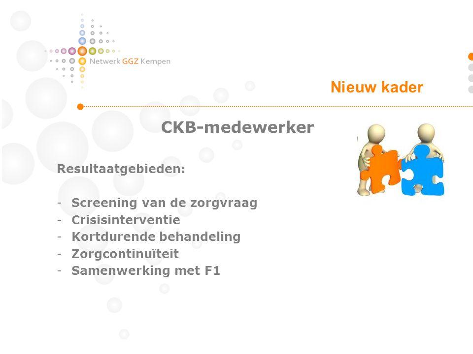 Nieuw kader CKB-medewerker Resultaatgebieden: