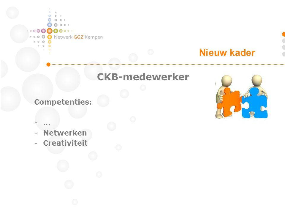 Nieuw kader CKB-medewerker Competenties: … Netwerken Creativiteit