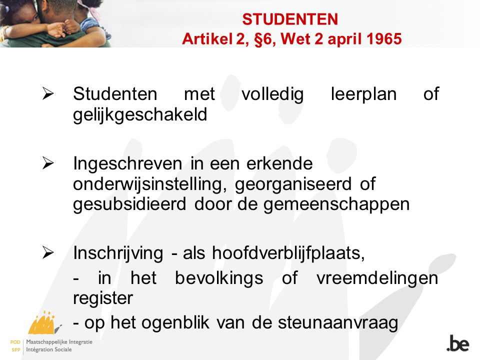 STUDENTEN Artikel 2, §6, Wet 2 april 1965