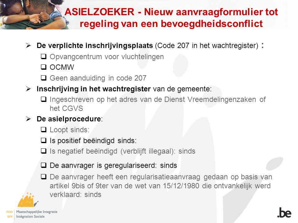 ASIELZOEKER - Nieuw aanvraagformulier tot regeling van een bevoegdheidsconflict