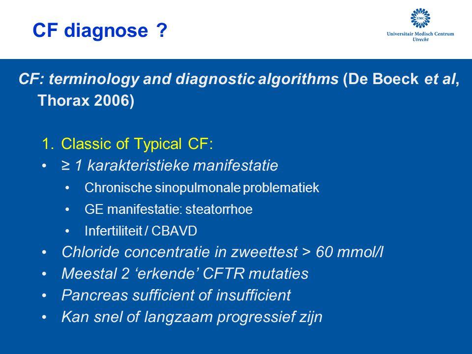 CF diagnose CF: terminology and diagnostic algorithms (De Boeck et al, Thorax 2006) Classic of Typical CF: