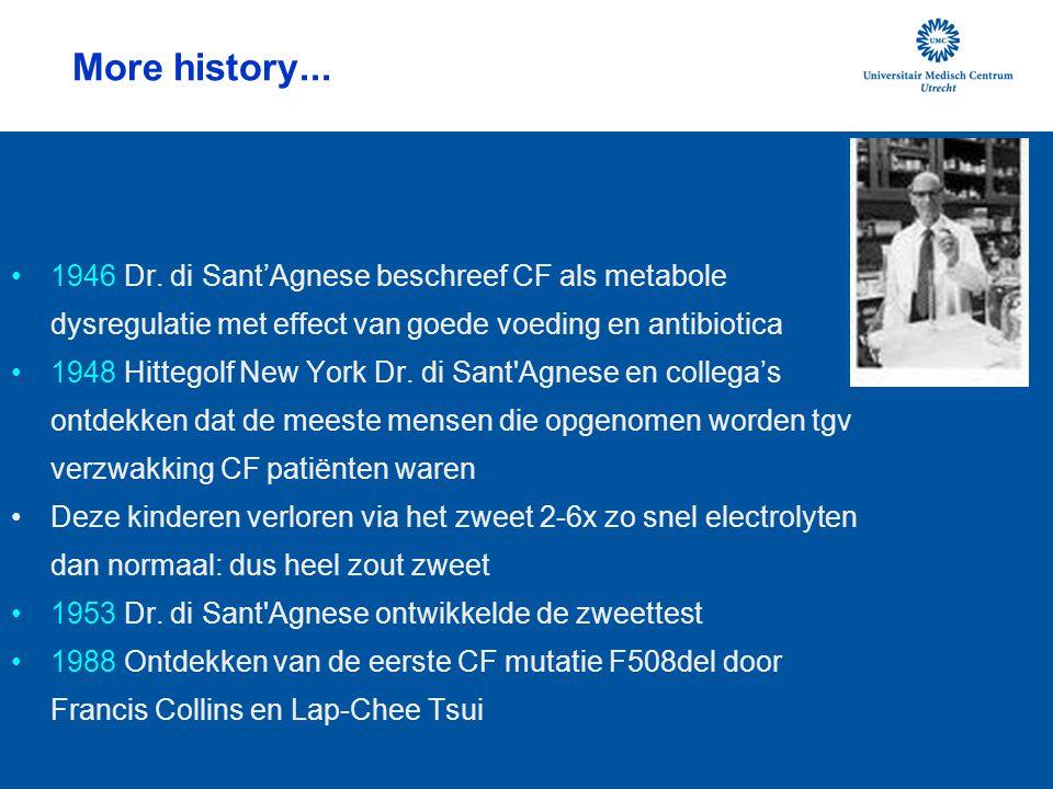 More history... 1946 Dr. di Sant'Agnese beschreef CF als metabole dysregulatie met effect van goede voeding en antibiotica.