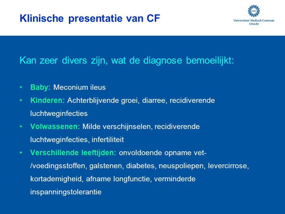 Klinische presentatie van CF