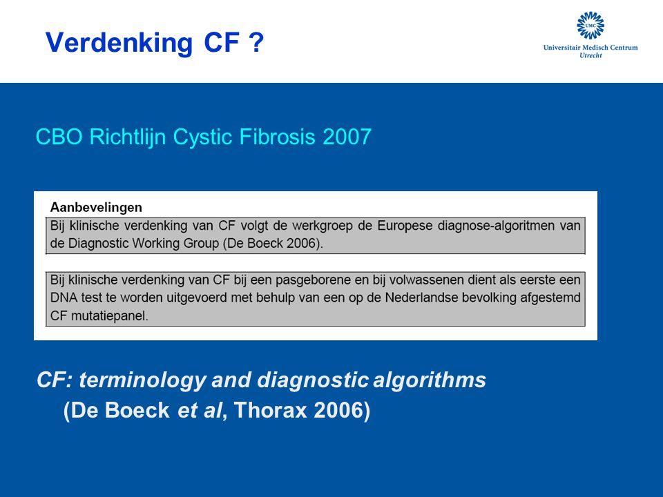 Verdenking CF CBO Richtlijn Cystic Fibrosis 2007