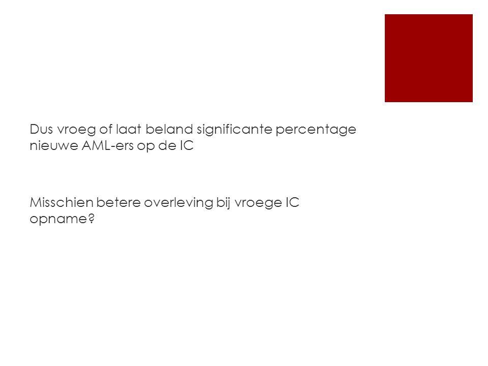 Dus vroeg of laat beland significante percentage nieuwe AML-ers op de IC Misschien betere overleving bij vroege IC opname