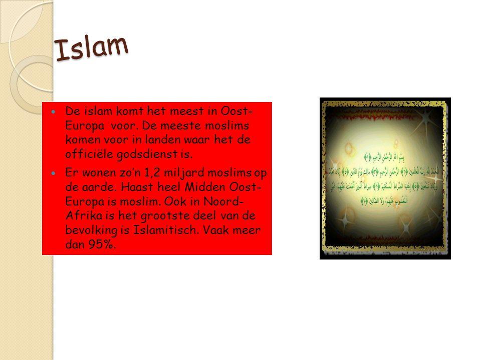 Islam De islam komt het meest in Oost- Europa voor. De meeste moslims komen voor in landen waar het de officiële godsdienst is.