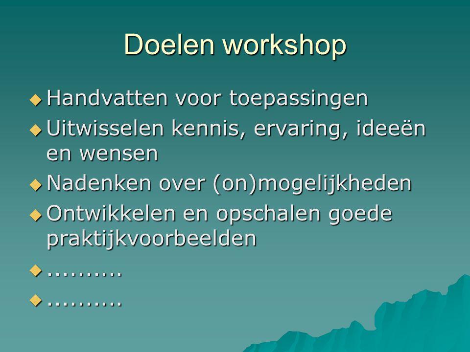 Doelen workshop Handvatten voor toepassingen