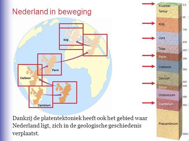 Nederland in beweging Dankzij de platentektoniek heeft ook het gebied waar. Nederland ligt, zich in de geologische geschiedenis.