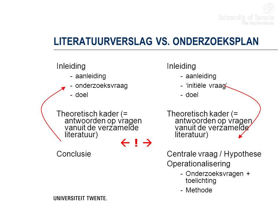 LITERATUURVERSLAG VS. ONDERZOEKSPLAN
