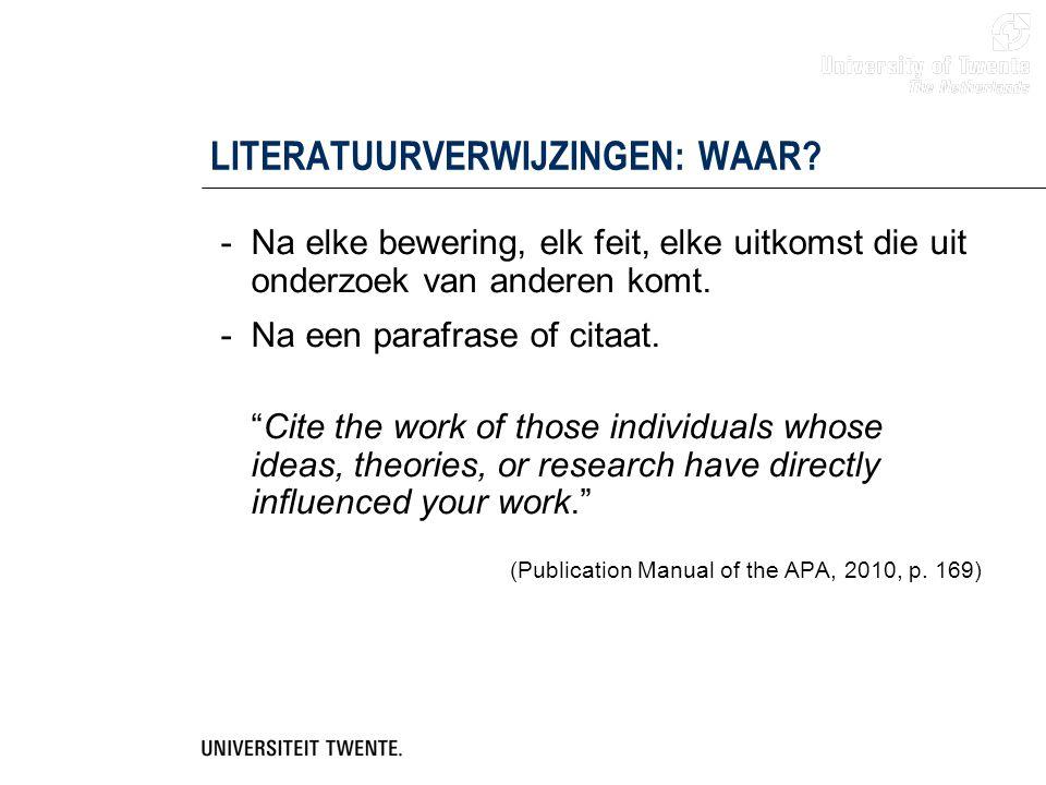 LITERATUURVERWIJZINGEN: WAAR