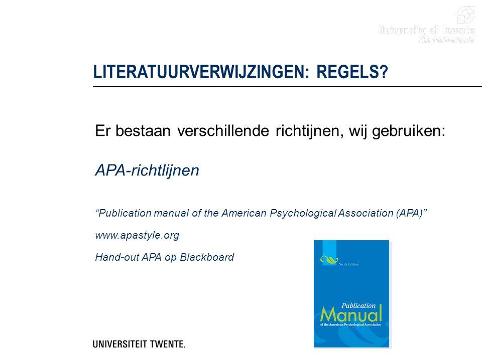 LITERATUURVERWIJZINGEN: REGELS