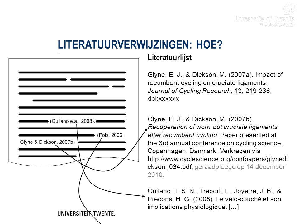 LITERATUURVERWIJZINGEN: HOE