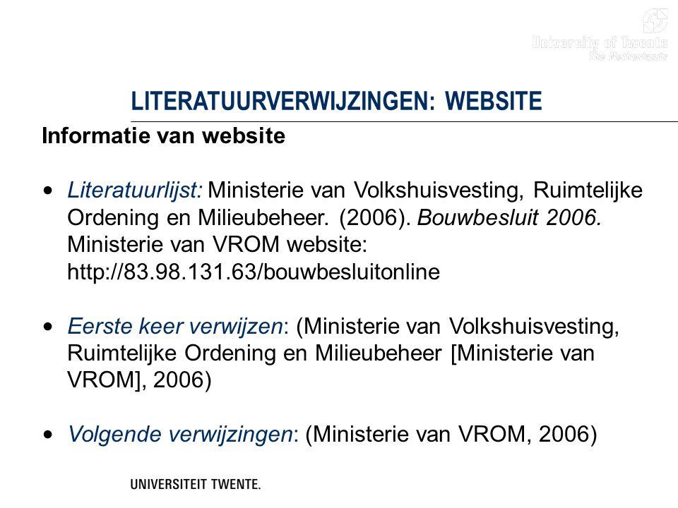 LITERATUURVERWIJZINGEN: WEBSITE