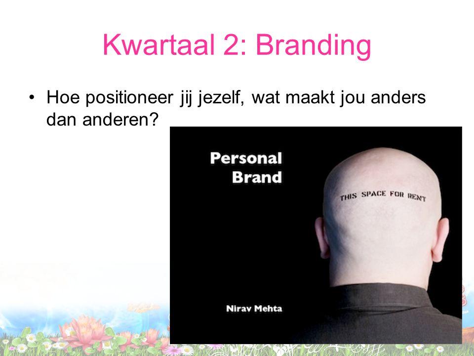 Kwartaal 2: Branding Hoe positioneer jij jezelf, wat maakt jou anders dan anderen