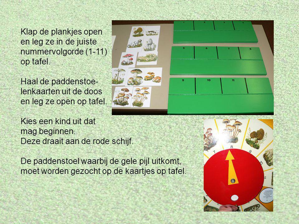 Klap de plankjes open en leg ze in de juiste nummervolgorde (1-11) op tafel.