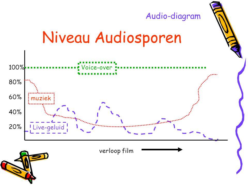 Niveau Audiosporen Audio-diagram 100% 80% 60% 40% 20% Voice-over
