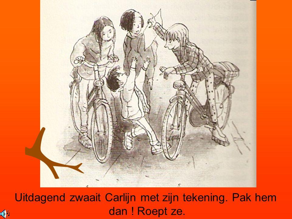 Uitdagend zwaait Carlijn met zijn tekening. Pak hem