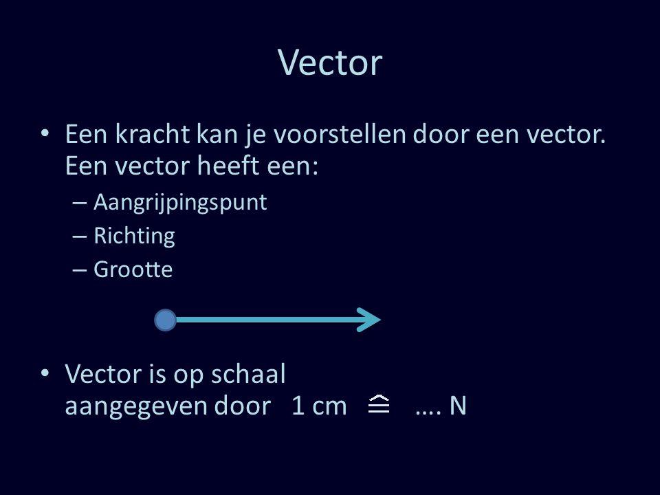 Vector Een kracht kan je voorstellen door een vector. Een vector heeft een: Aangrijpingspunt. Richting.
