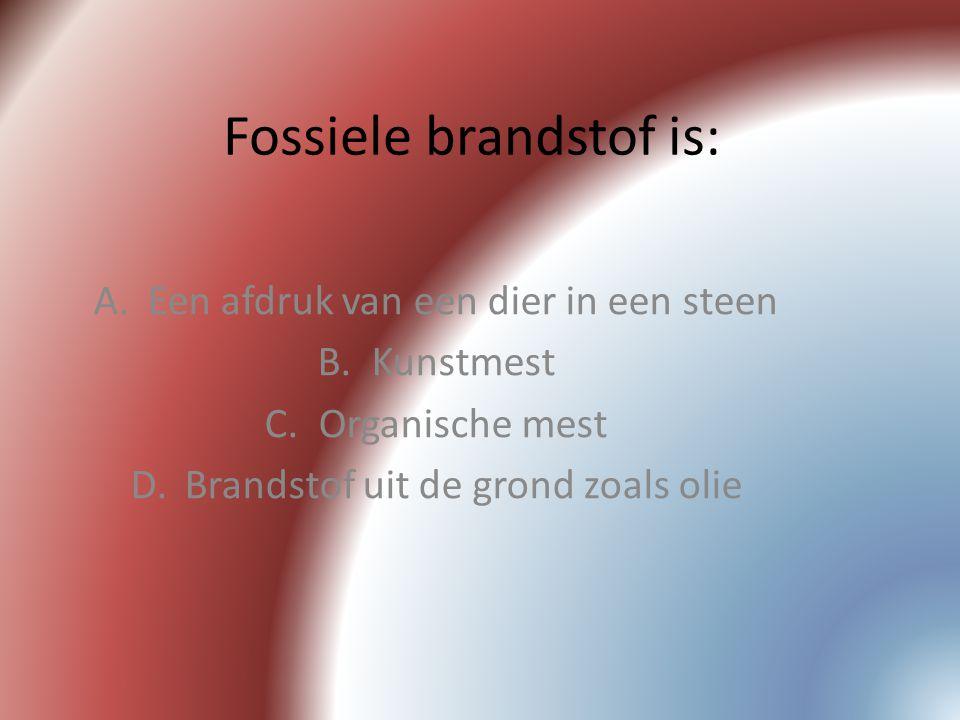 Fossiele brandstof is:
