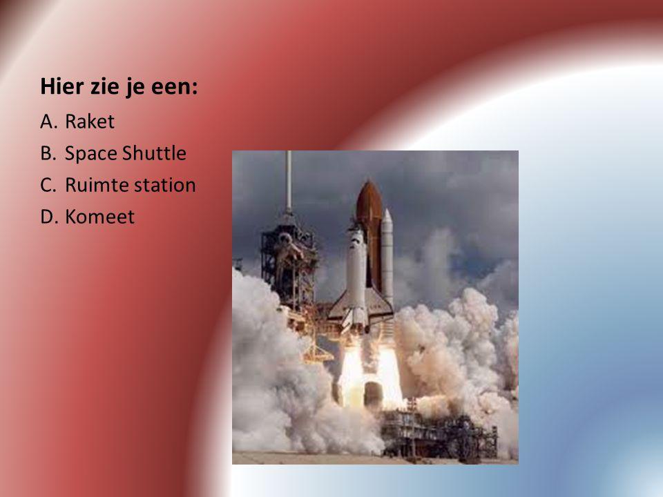 Hier zie je een: Raket Space Shuttle Ruimte station Komeet