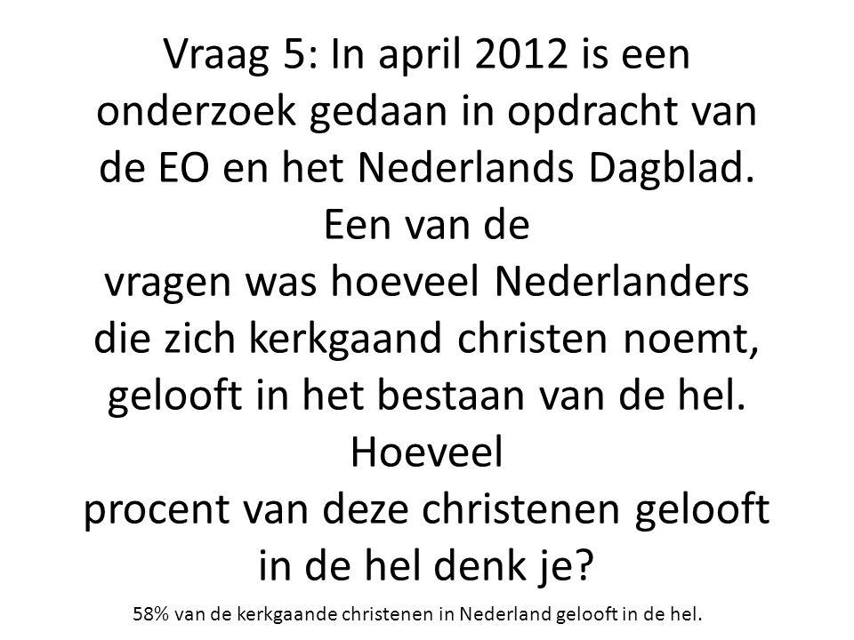 Vraag 5: In april 2012 is een onderzoek gedaan in opdracht van de EO en het Nederlands Dagblad. Een van de vragen was hoeveel Nederlanders die zich kerkgaand christen noemt, gelooft in het bestaan van de hel. Hoeveel procent van deze christenen gelooft in de hel denk je