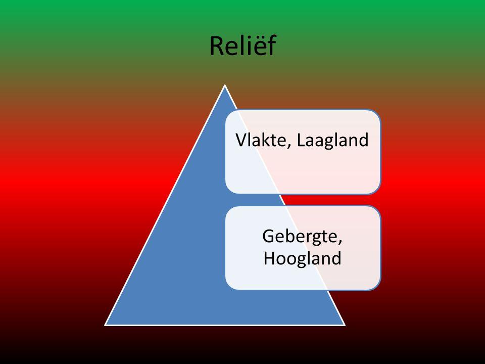 Reliëf Vlakte, Laagland Gebergte, Hoogland