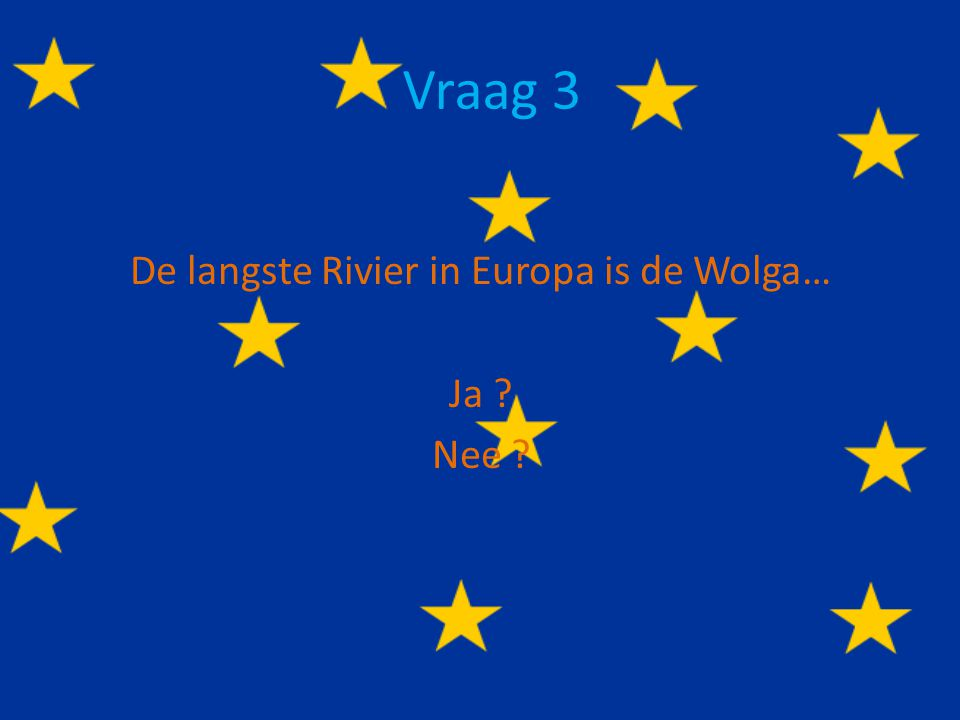 De langste Rivier in Europa is de Wolga… Ja Nee