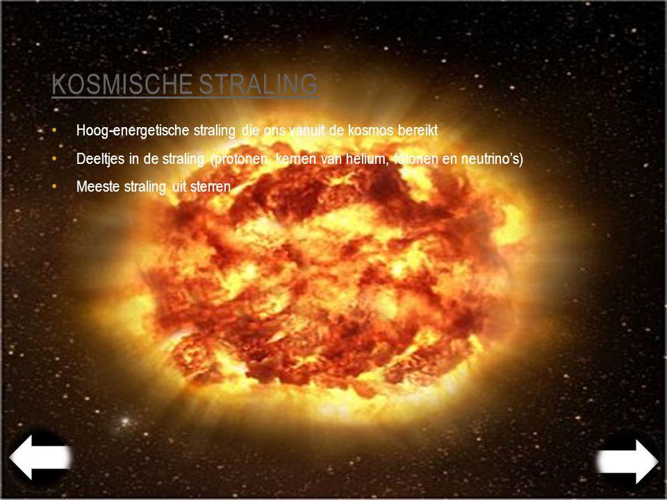 Kosmische straling Hoog-energetische straling die ons vanuit de kosmos bereikt.