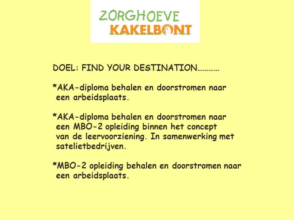 DOEL: FIND YOUR DESTINATION…………