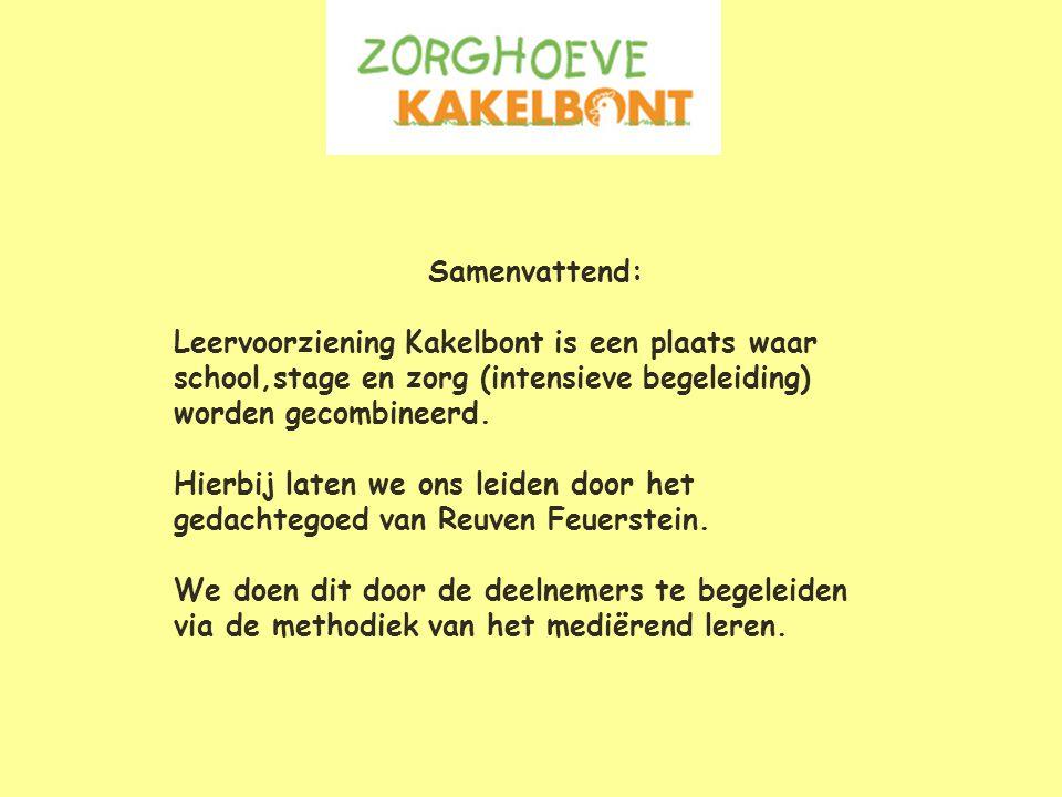 Samenvattend: Leervoorziening Kakelbont is een plaats waar. school,stage en zorg (intensieve begeleiding)