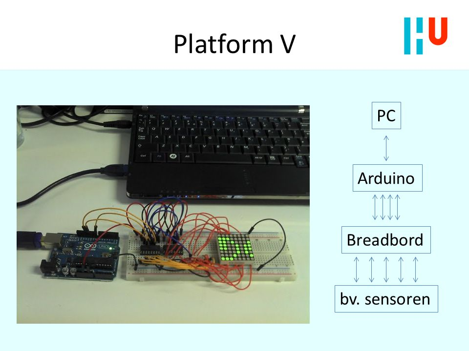 Platform V PC Arduino Breadbord bv. sensoren