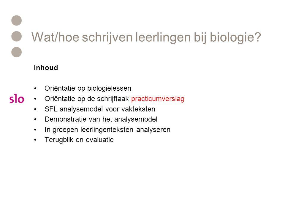 Wat/hoe schrijven leerlingen bij biologie