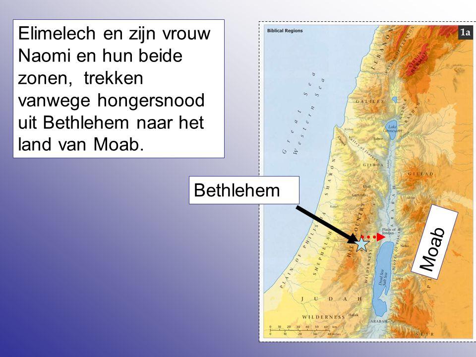 Elimelech en zijn vrouw Naomi en hun beide zonen, trekken vanwege hongersnood uit Bethlehem naar het land van Moab.