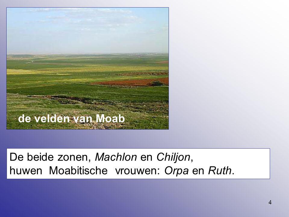 de velden van Moab De beide zonen, Machlon en Chiljon, huwen Moabitische vrouwen: Orpa en Ruth.