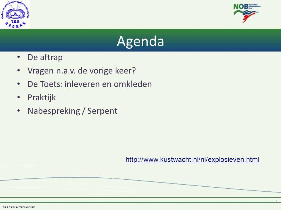 Agenda De aftrap Vragen n.a.v. de vorige keer