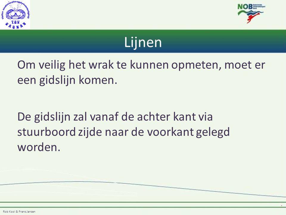 Lijnen Om veilig het wrak te kunnen opmeten, moet er een gidslijn komen.