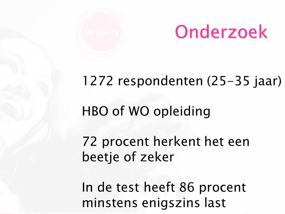 Onderzoek 1272 respondenten (25-35 jaar) HBO of WO opleiding