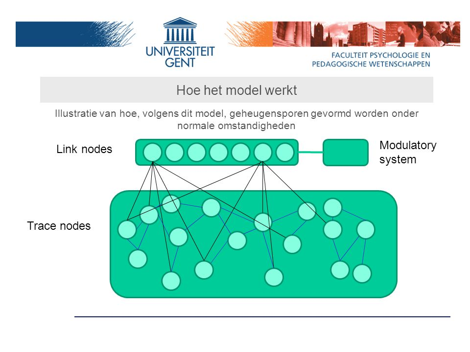 Hoe het model werkt Modulatory system Link nodes Trace nodes