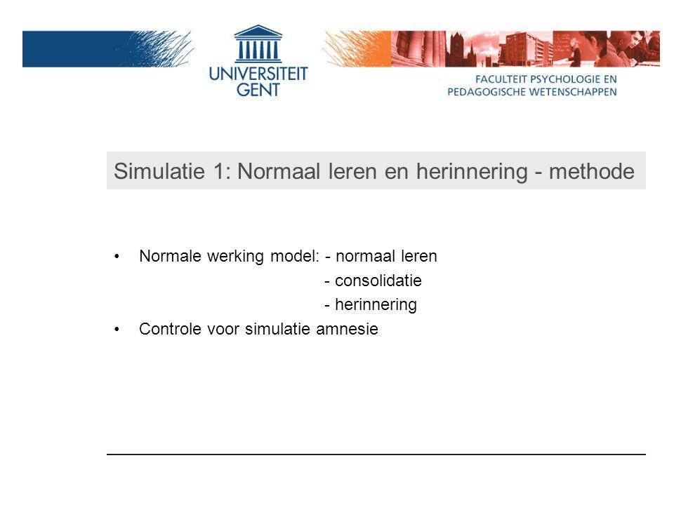Simulatie 1: Normaal leren en herinnering - methode