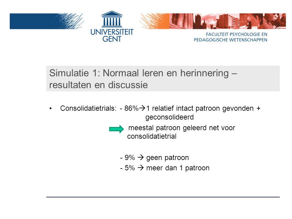 Simulatie 1: Normaal leren en herinnering –resultaten en discussie