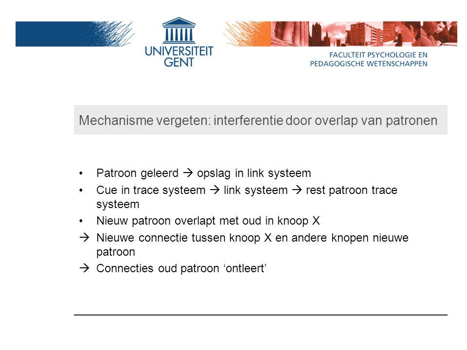 Mechanisme vergeten: interferentie door overlap van patronen