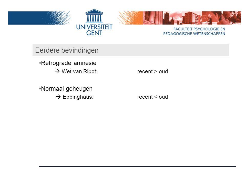 Eerdere bevindingen Retrograde amnesie Normaal geheugen