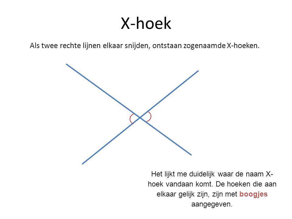 Als twee rechte lijnen elkaar snijden, ontstaan zogenaamde X-hoeken.