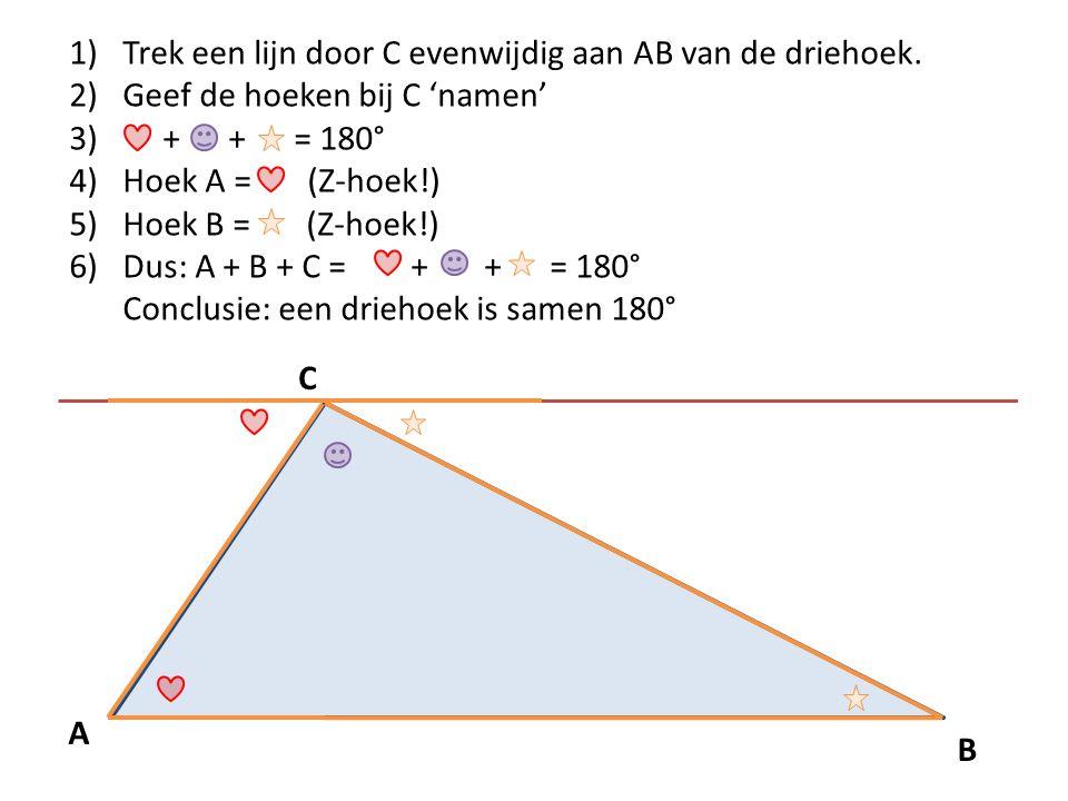 Trek een lijn door C evenwijdig aan AB van de driehoek.
