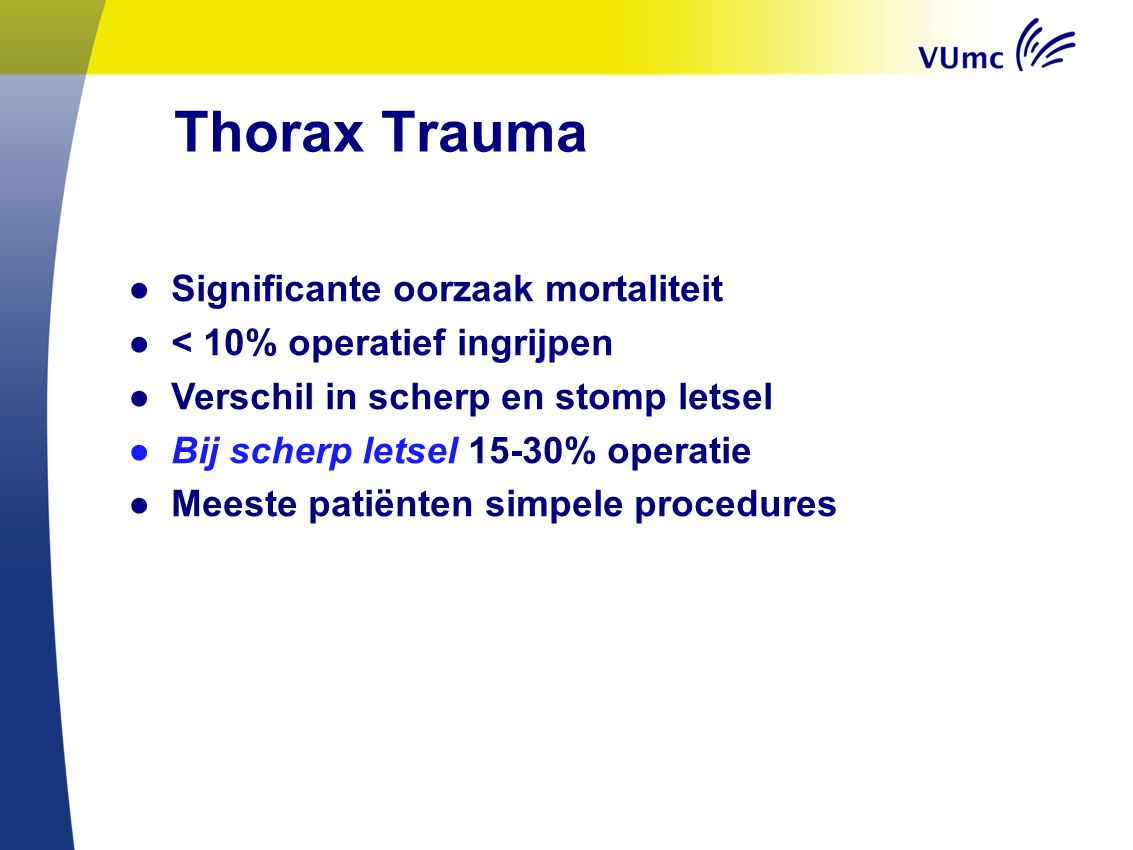 Thorax Trauma Significante oorzaak mortaliteit